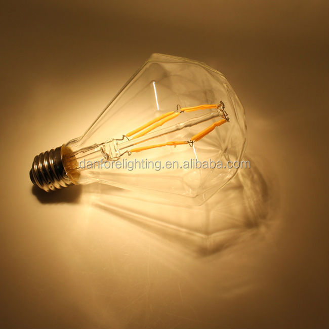 6W CE ETL 110mm decoration vintage diamond shape filament diamond led bulb