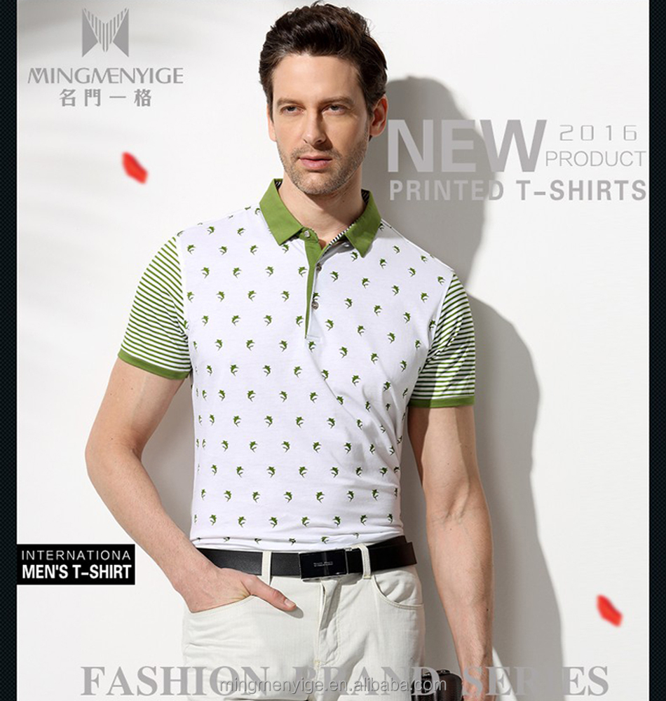 Fancy Men Polo High Quality Fashion 100% Cotton Custom T Shirt Printing