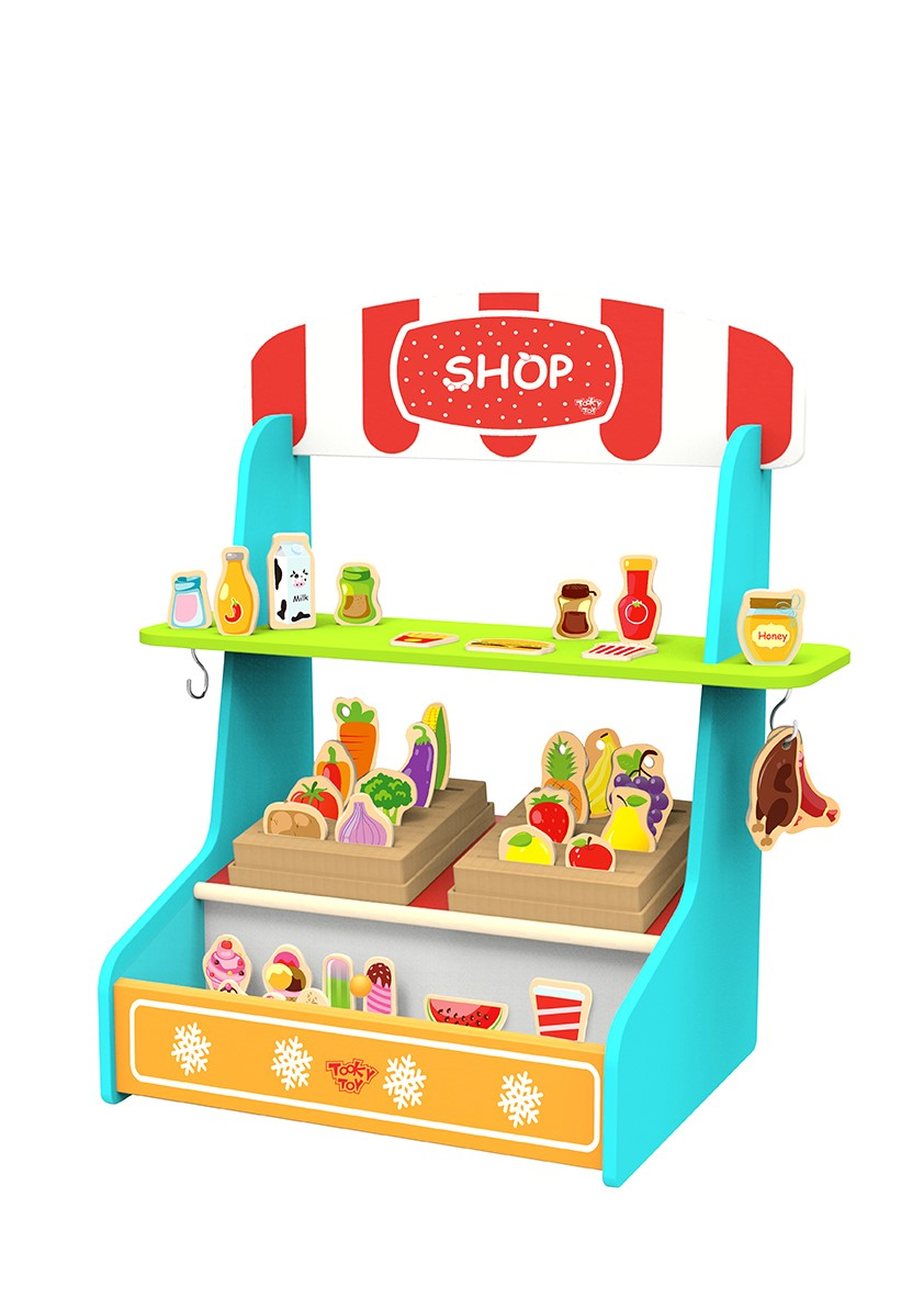 Newest role play kids wooden food shop toy