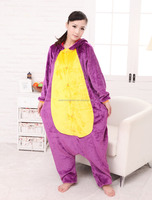 welcomed walson new design animal onesie hooded purple adult Dinosaur onesie