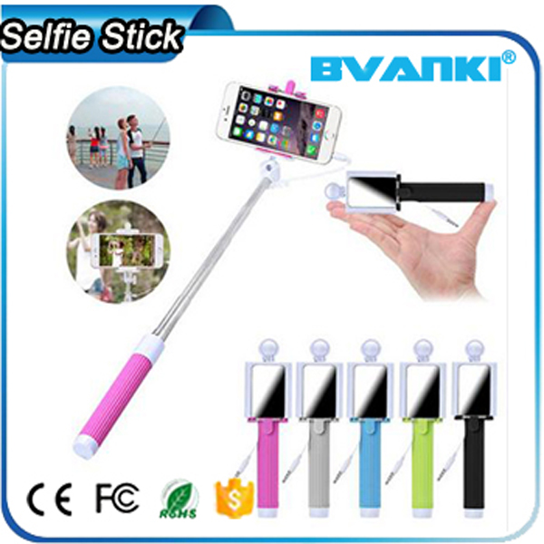 Buy Chinese Products Online Foldable Wired Selfie Stick For iPhone,High Quality Cable Bluetooth Monopod Selfie Stick With Mirror