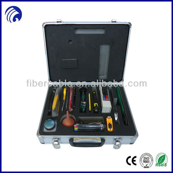Supply FTTH splicing fiber optic tools kits in laptop