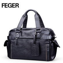 FEGER fashion black travel duffel bag pu men's tote bag custom weekend bag