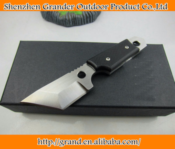 OEM mini tactical survival knives fixed blade hunting knife outdoor tool hand D2 59HRC blade G10 handle K sheath 1598