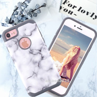 alibaba express 2 in 1 combo protective Reinforced Shockproof PC TPU Marble grain back mobile phone cover Case for iPhone 6s