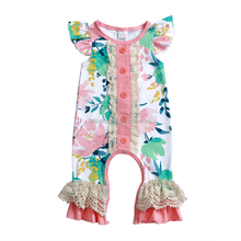 2018 Wholesale baby bodysuit girls clothing floral baby romper