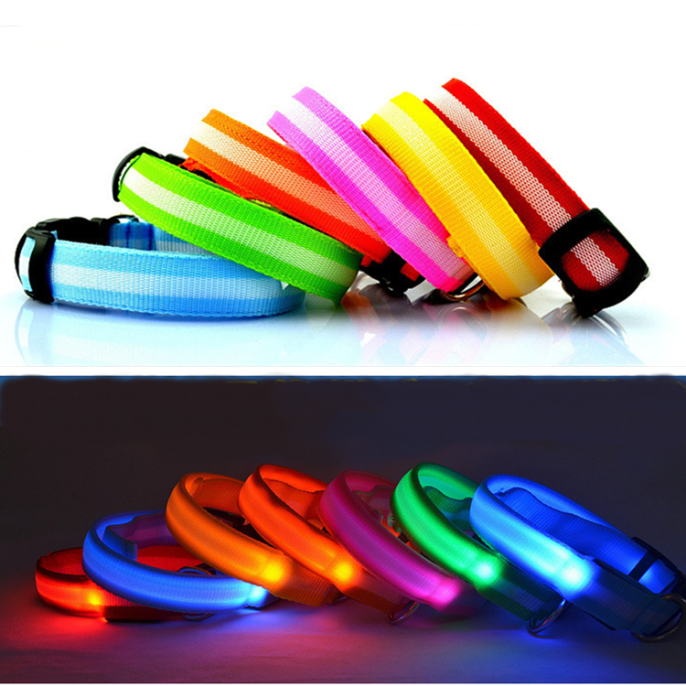 High Quality Night Safety Nylon Pet Flashing LED Dog Collar