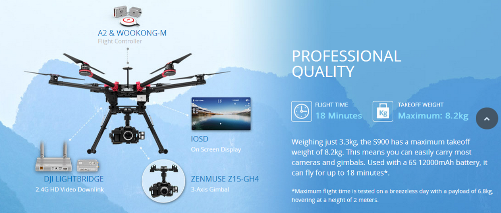 DJI S900 hexacopter frame drone with A2 Flight Controllers and Zenmuse Z15-GH4(HD) Gimbal Systems