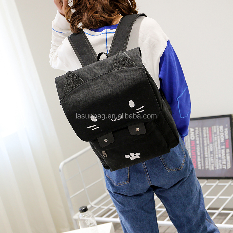 Newest Cheap Black Cat Design Cute Young Girls Nylon Cartoon School <strong>Backpacks</strong>