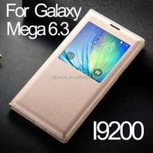 PU leather case cover for Samsung Galaxy Mega 6.3 I9200 phone window case for j1