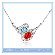Wholesale alibaba attractive jewelry red and light blue crystal necklace fashion leader jewelry