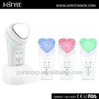 2014 new multifunctional facial massager blue red green light therapy