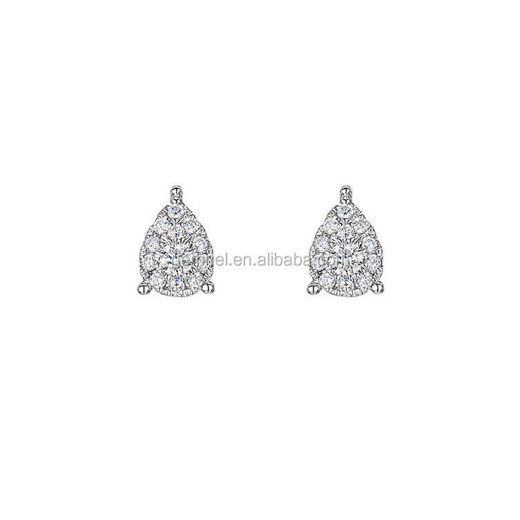 Gemnel new arrival small gold ladies pear diamond bridal earrings stud