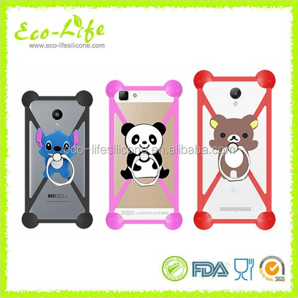 Factory new design universal silicone phone case with ring holder