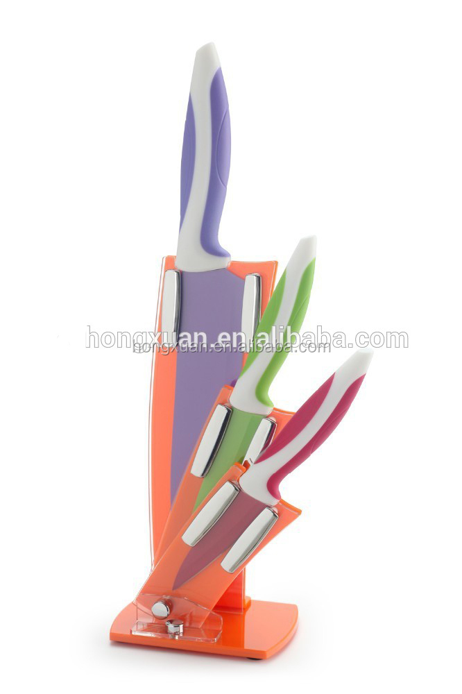3pcs non-stick coated Colorfule Handle Kitchen Knife Set With Acrylic Block