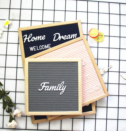 "Amazon Hot High Quality Felt LetterBoard 10""<strong>x10</strong>"" with colorful characters message Boards Changeable wood stand pin letter board"