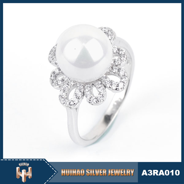 latest jewellery 925 silver simple design pearl ring for women