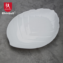 dinner plate leaf shape opal tempered glass