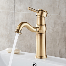 Retro traditional hot/cold water mixer single handle pull out brass basin faucet