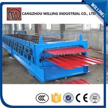 European type panel and trapezoid tile double layer roll forming machine