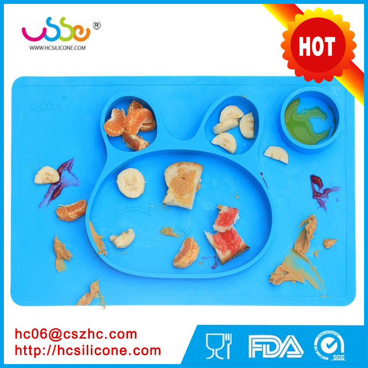 2017 ODM and OEM design Suction Plate Microwave safe,FDA Approved Feeding Tray silicone baby placemat plate for kids