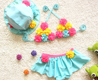 Baby child split three - piece suit Korean flowers bikini swimsuit