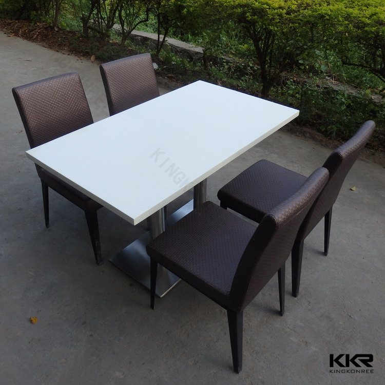 Modern long narrow extendable white color solid surface dining table