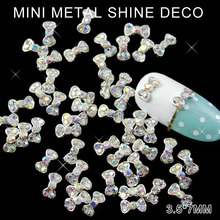 AB Color Stone Silver Metal Ring Fashon Bow Tie 3d Nail Art Rhinestone