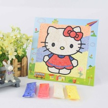 Hello Kitty child educational diy sand art kit snow clay painting toy/simple gift craft eva toy for kids