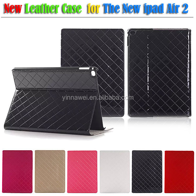 Luxury checker leather case for ipad 6, Ultra thin Leather Case for ipad Air 2