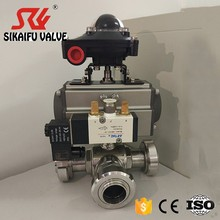 Pneumatic 3 way Ball Valve Clamped with Solenoid Valve and Limit Switch