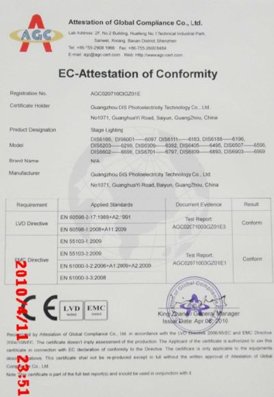 Moving head light CE certificate