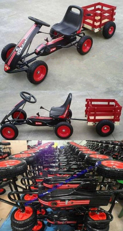Hot Sale Pedal Trailer Go kart with CE certfficate,Cheap Kids Wagon for Sale