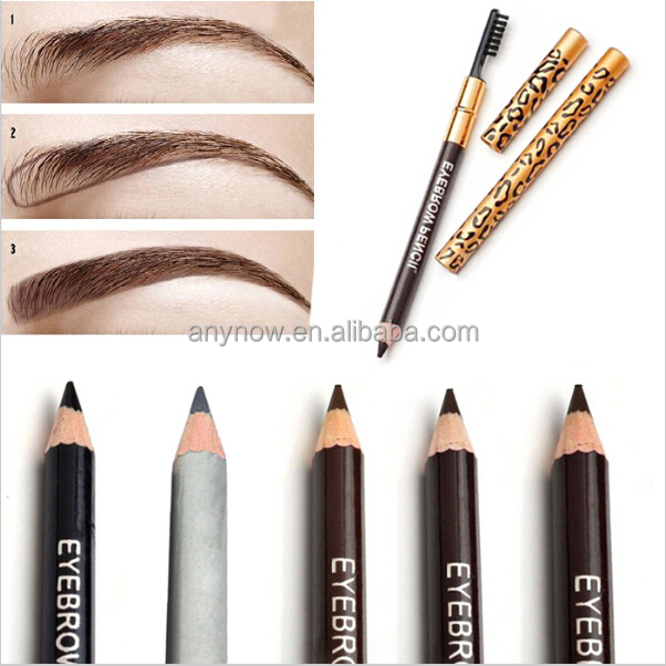 Waterproof 5 colors leopard print makeup wooden brow pencil with brush