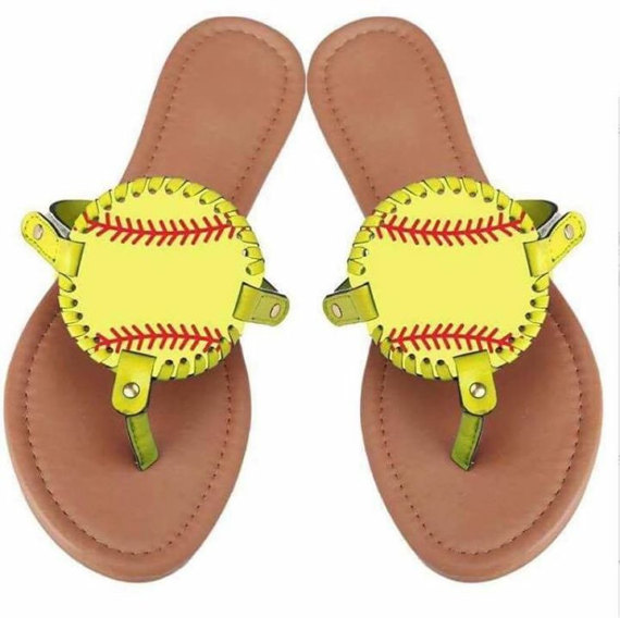 Wholesale new design personalized summer monogrammed women's baseball sandals