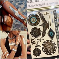 Metallic Flash Tattoos, Temporary, Gold, Festivals, Fashion, Body Art, Jewellery