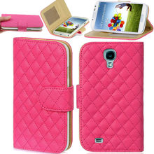 Leather Quilted Wallet Flip Stand Case Cover Purse For Samsung Galaxy S4 i9500
