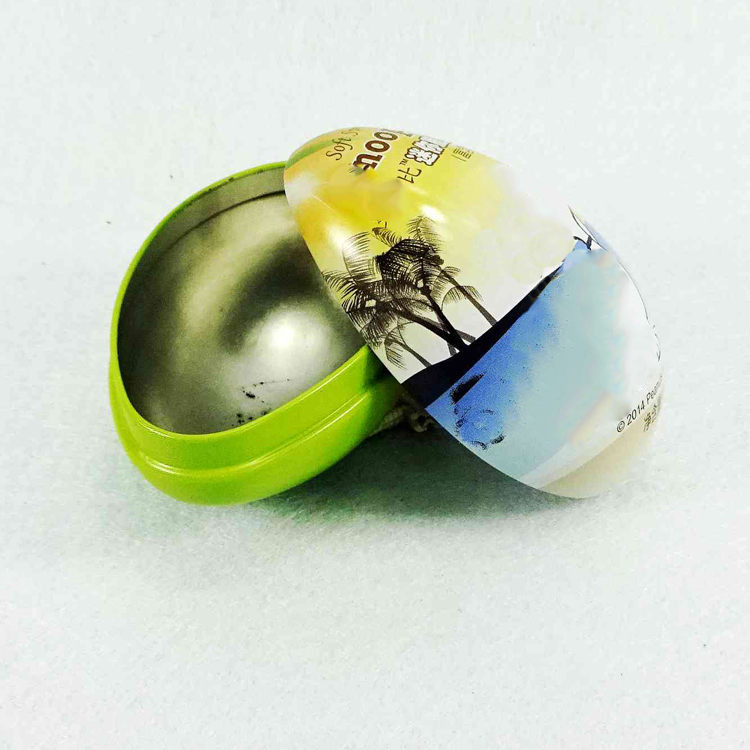 Recyclable material Easter egg shape chocolate tin box