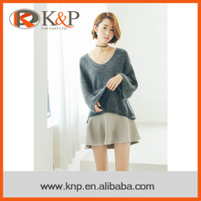 Computer Knitted v neck women pullover sweater / 100% angora sweater
