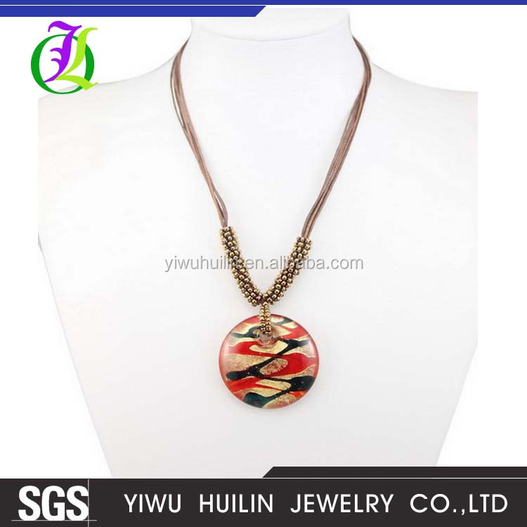 BS217Yiwu Huilin Jewelry hot sell Chromatic stripe pendant Coloured Glaze magnetic bead chain necklace