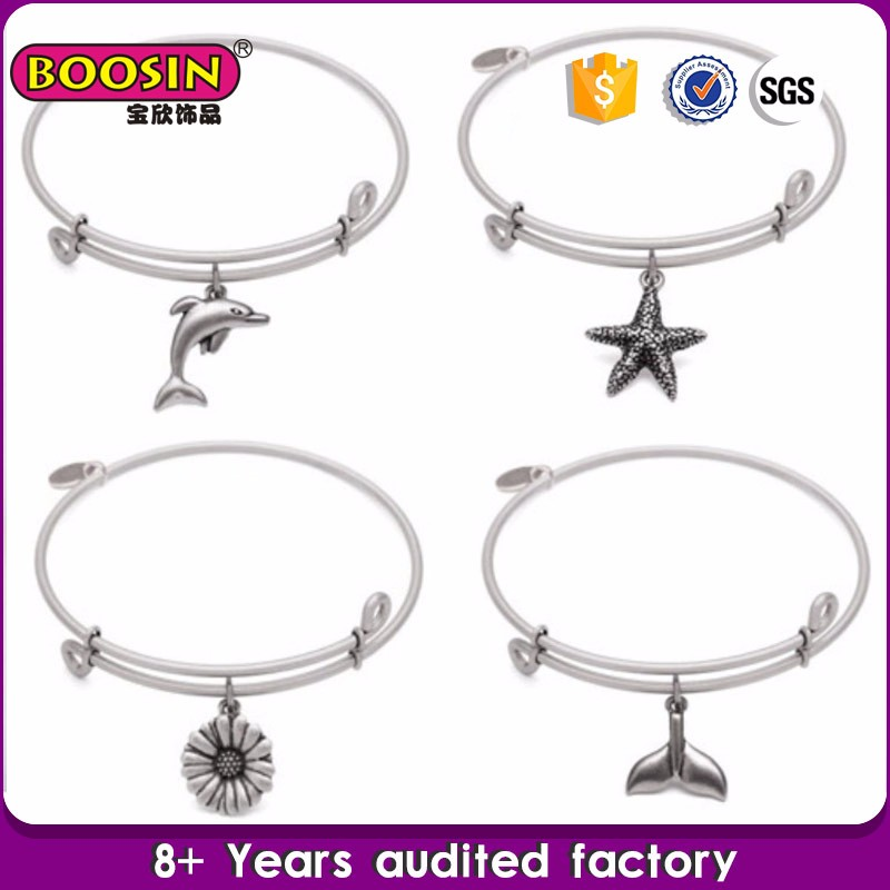 Accept Custom Design guangzhou silver daisy/star/fish tail /dolphin charm bangle,adjutsable wire fashion silver bangle