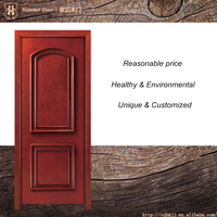 Dark red color hotel wood room door design with resist noise function
