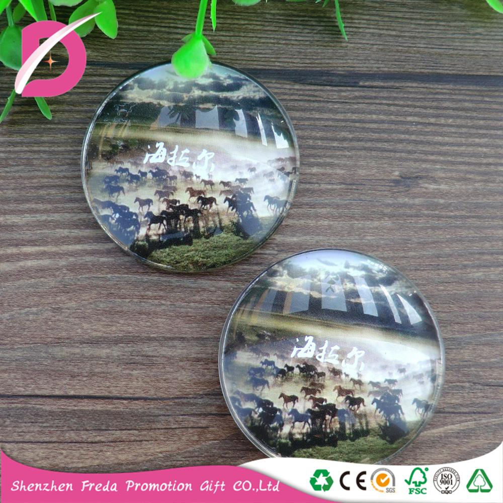 Round glass refrigerator magnets tourist attractions commemorative gifts