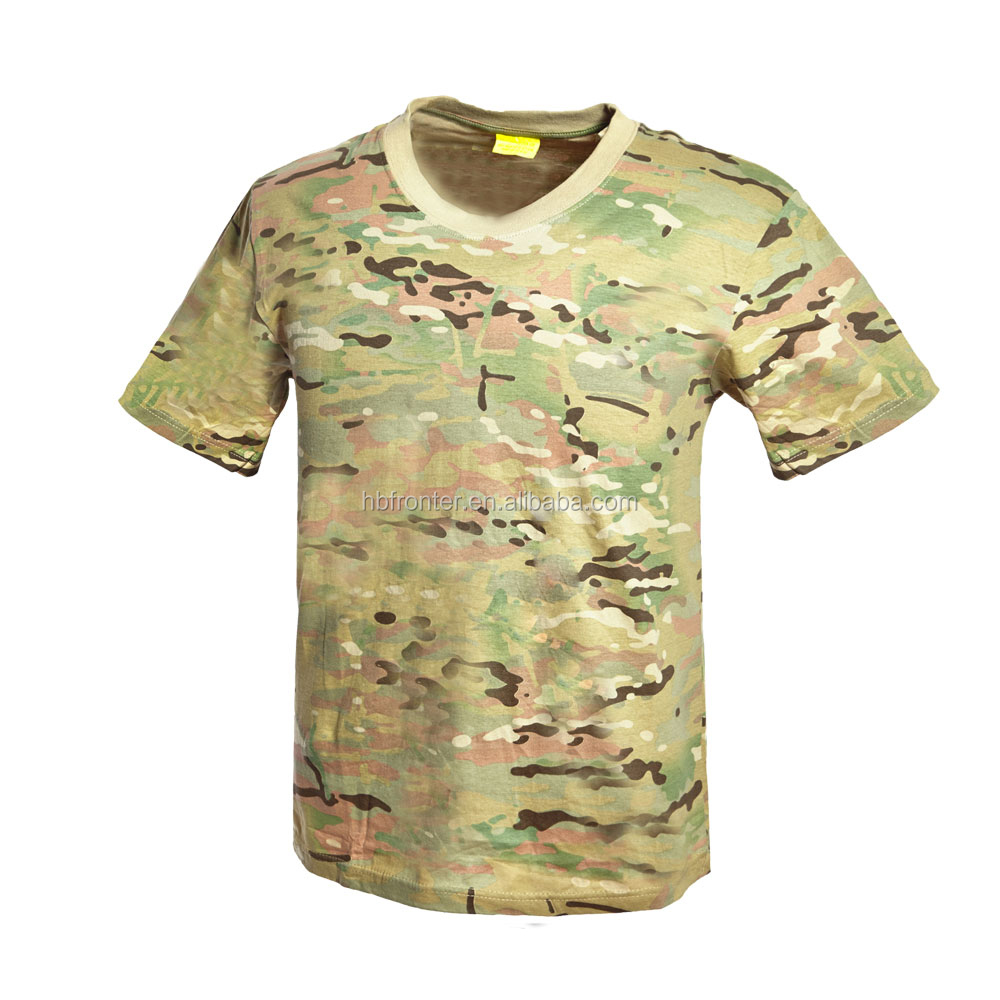 Wholesale Classic Camouflage Multicam Camo CP Cotton T Shirt Short Sleeve Training Army T shirt