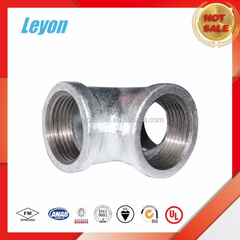 Hot Dipped Casting Iron Pipe Fitting malleable NPT galvanized tee