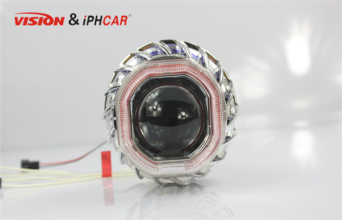 iPHCAR firewheel mini Square dual ccfl angel eyes xenon HID projector lens with H1 bulb