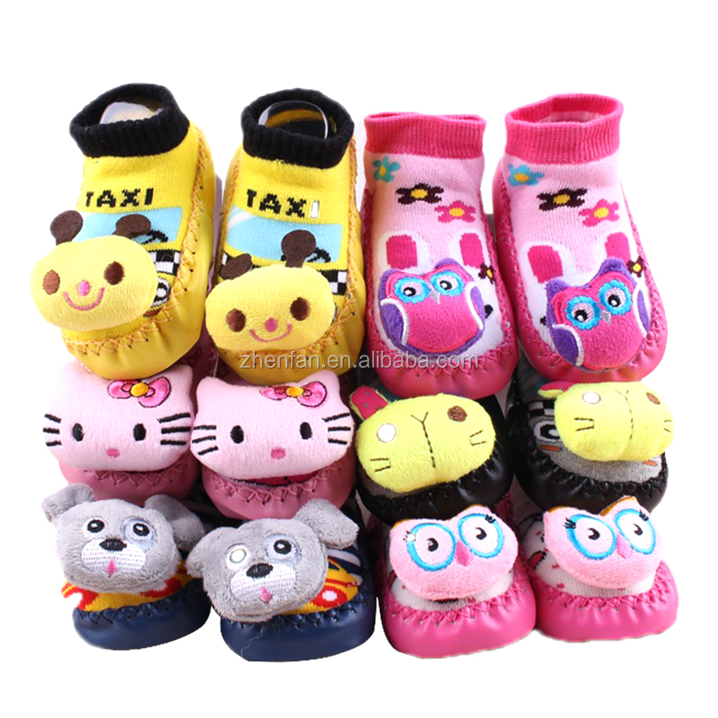lovely animal head baby leather sole non-slip baby rattle socks