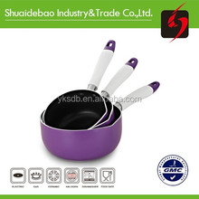 China cooking tempered glass lid aluminum non stick milk pot