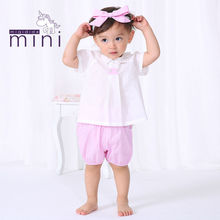 guangzhou baby clothes organic cotton comfortable high quality fancy tops with bow on collar baby girl top design