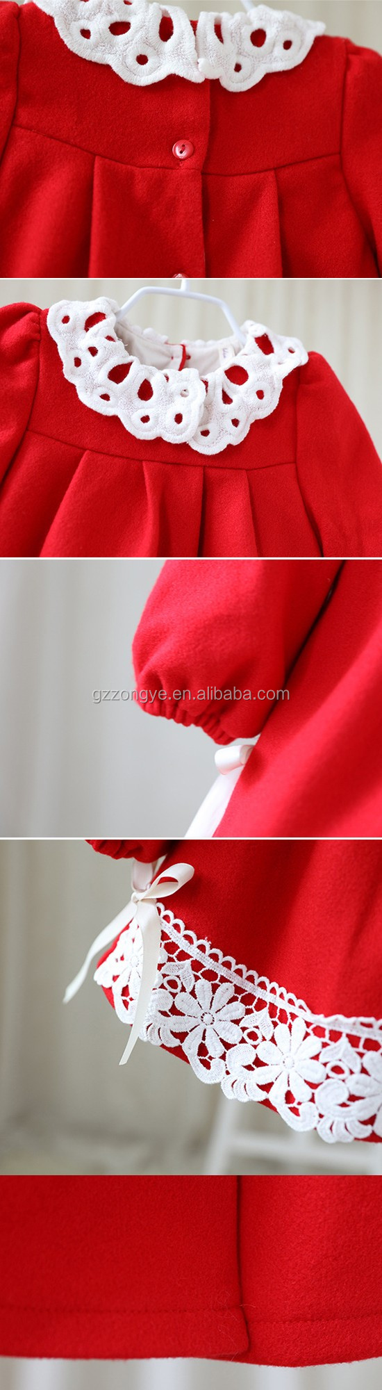 Wholesale children boutique lace silk winter coat girl baby red coat